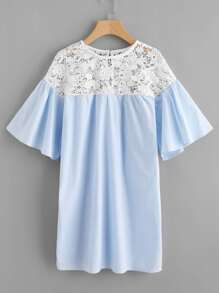Contrast Guipure Lace Shoulder Bell Sleeve Dress