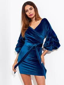 Gathered Sleeve Self Belted Surplice Dress