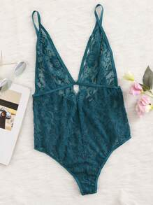 Plunge Neck Floral Lace Triangle Bodysuit