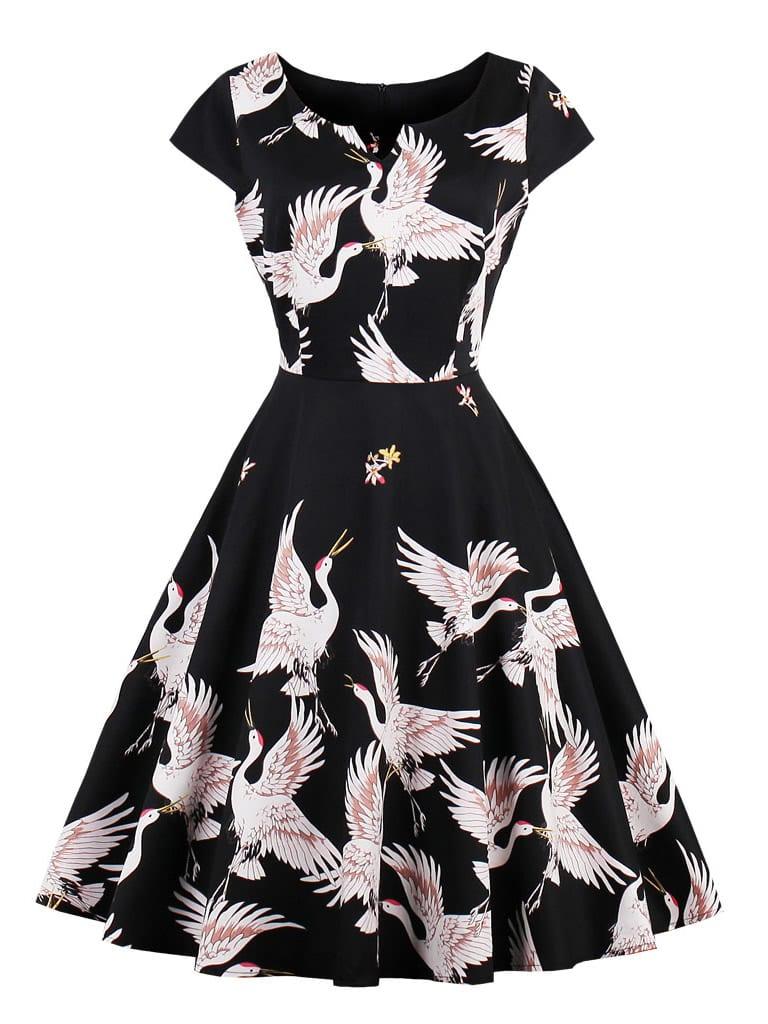 Cranes Print V Cut Circle Dress