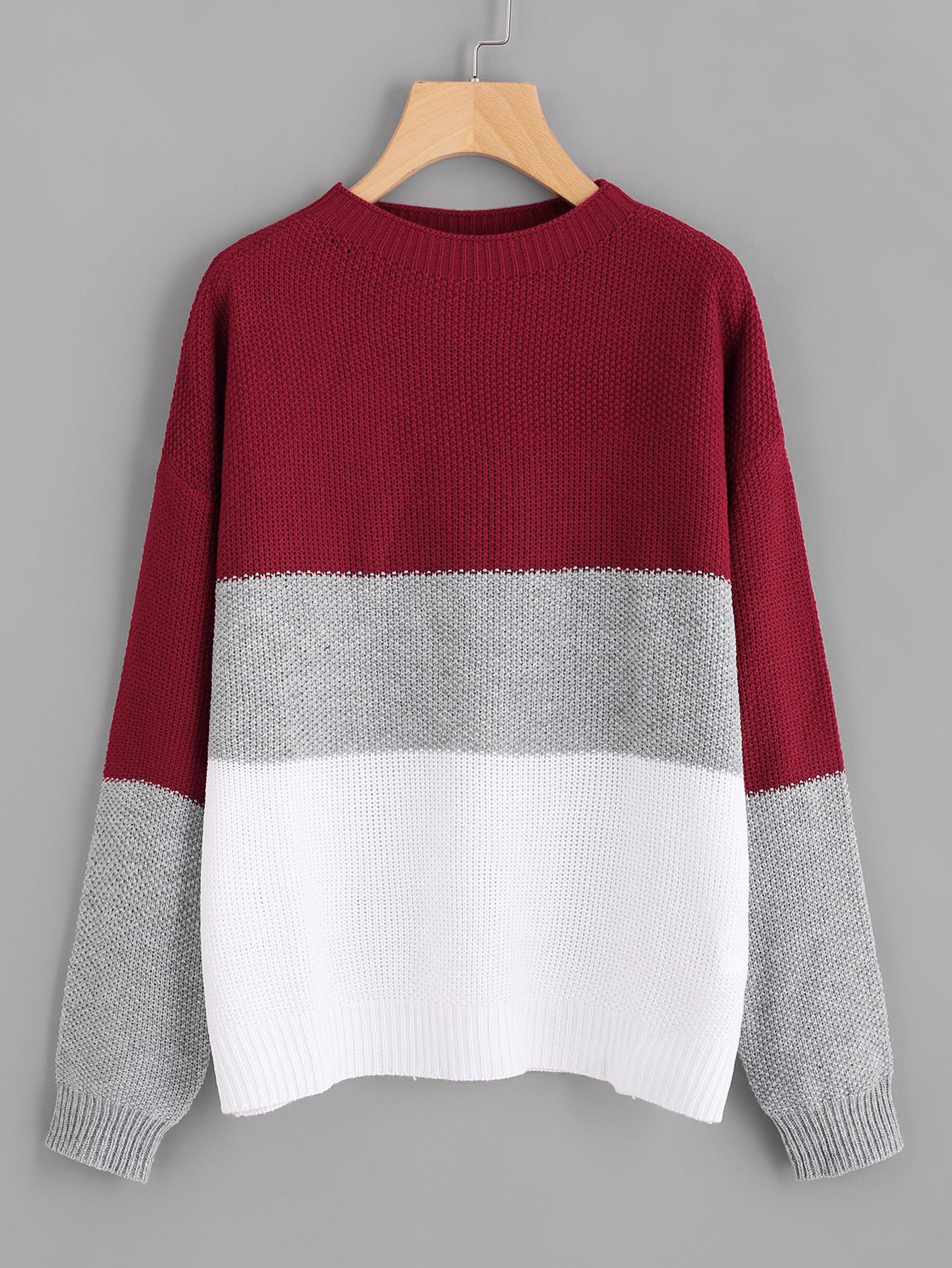 Color Block Drop Shoulder Jumper two tone drop shoulder sweatshirt