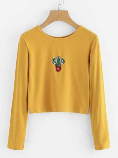 Cactus Embroidered Crop T-shirt