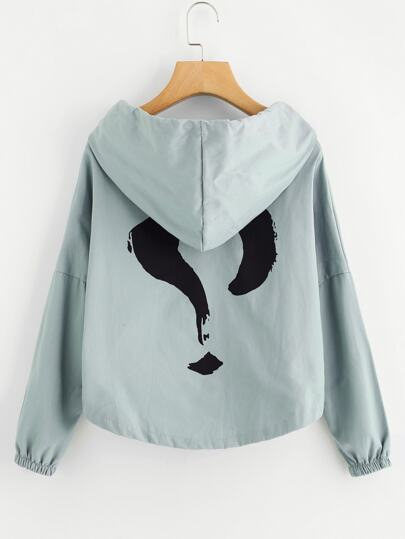 Question Mark Print Back Drop Shoulder Hooded Jacket