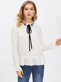 Frilled Cuff And Hem Embellished Collar Top