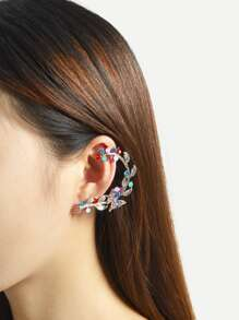 Rhinestone Leaf Left Ear Climber
