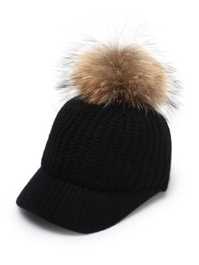 Pom Pom Decorated Knit Baseball Cap
