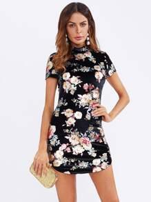 Curved Hem Floral Velvet Bodycon Dress