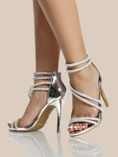Strappy Crystal Ankle Heels SILVER