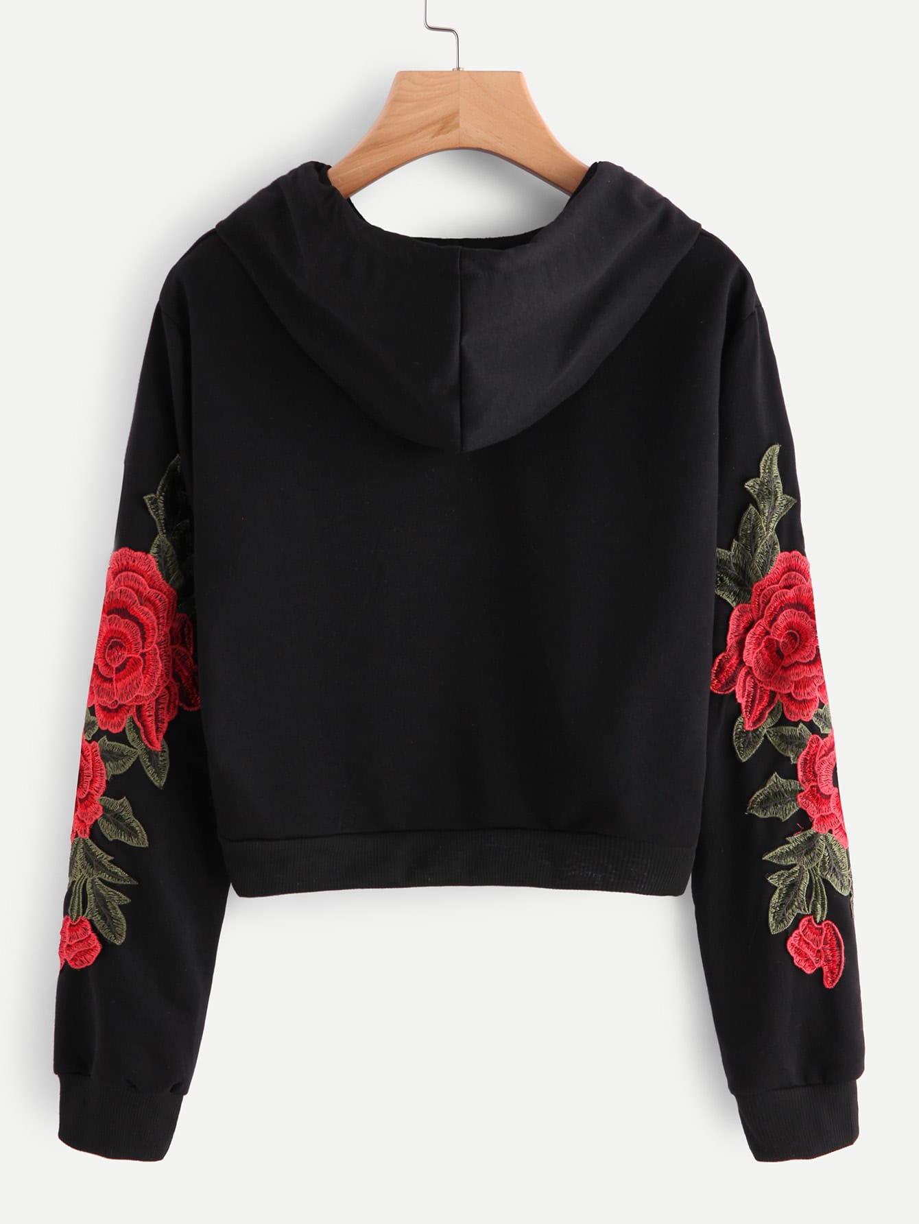 Embroidered rose applique sleeve hoodie shein sheinside