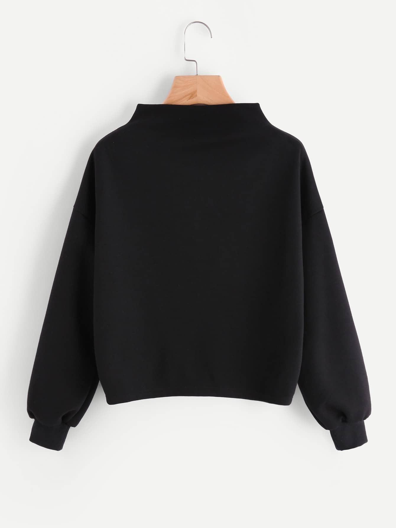 Mock Neck Cut And Sew Sweatshirt