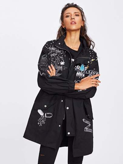 Faux Pearl Decoration Embroidered Drop Shoulder Jacket