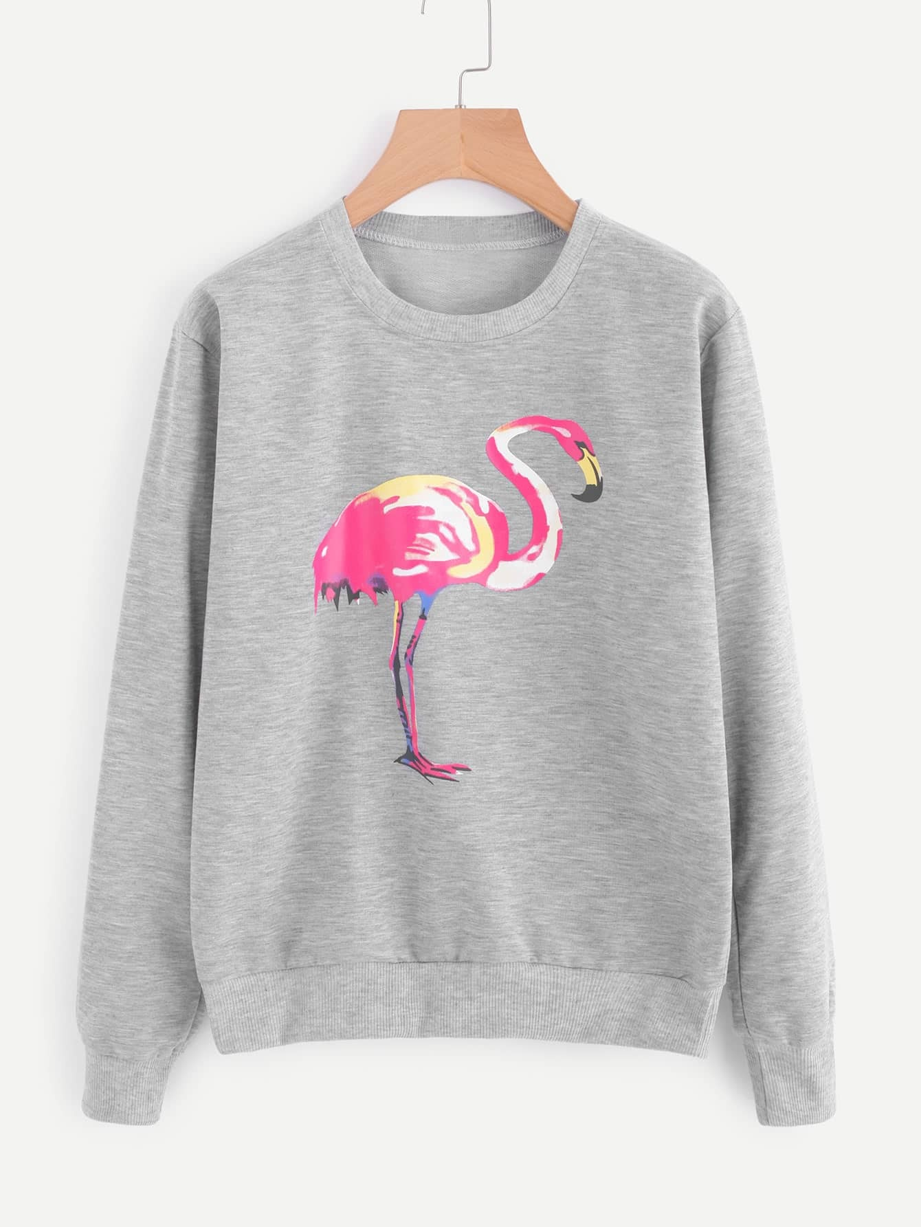 Flamingo Print Marled Sweatshirt drop shoulder letter print marled crop sweatshirt