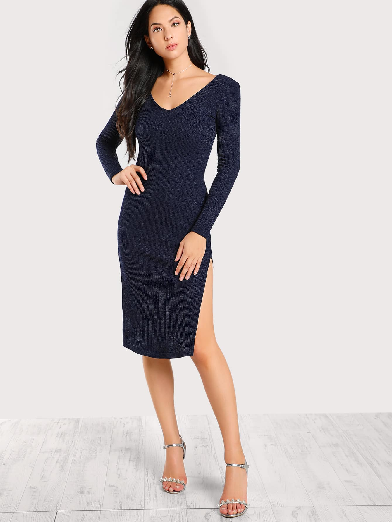 Double V Neck High Slit Rib Knit Dress dressmmc170829702