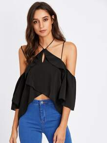 Open Shoulder Tulip Hem Frill Trim Halter Top