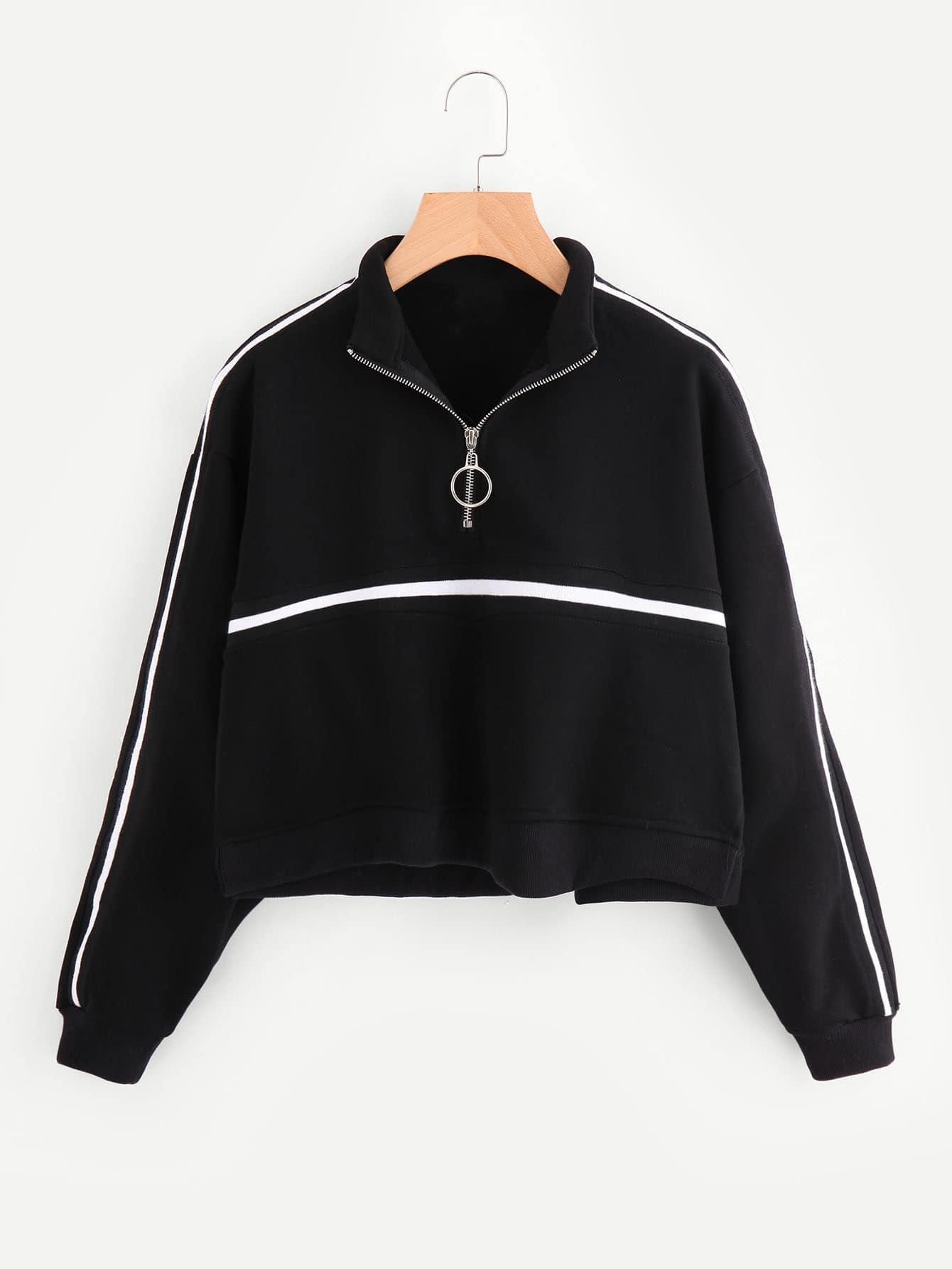 Zip Front Tape Detail Crop Sweatshirt