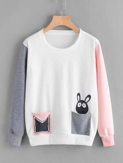 Contrast Sleeve Cartoon Print Pullover