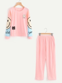 Cartoon Print Pullover And Pants Pajama Set