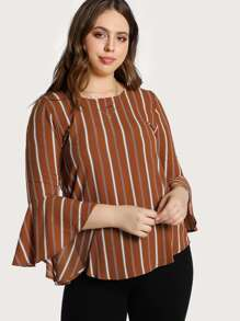 Trumpet Sleeve Back Keyhole Striped Top DARK RUST