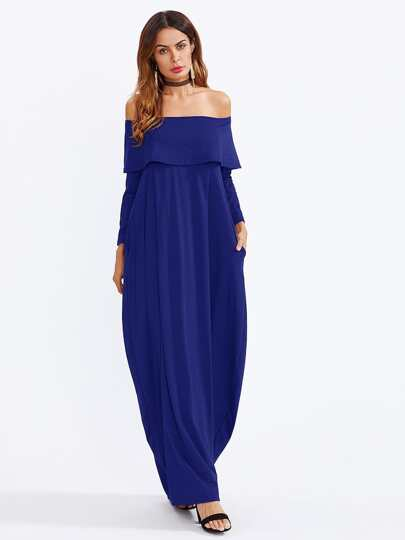 Fold Over Off Shoulder Cocoon Maxi Dress