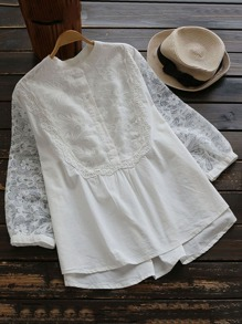 Embroidered Mesh Yoke And Sleeve Half Placket Blouse