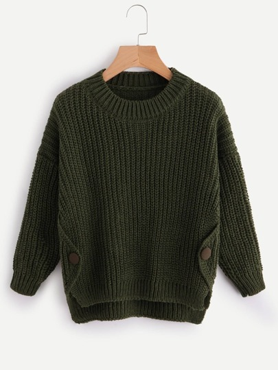 Button Side Dip Hem Cable Sweater