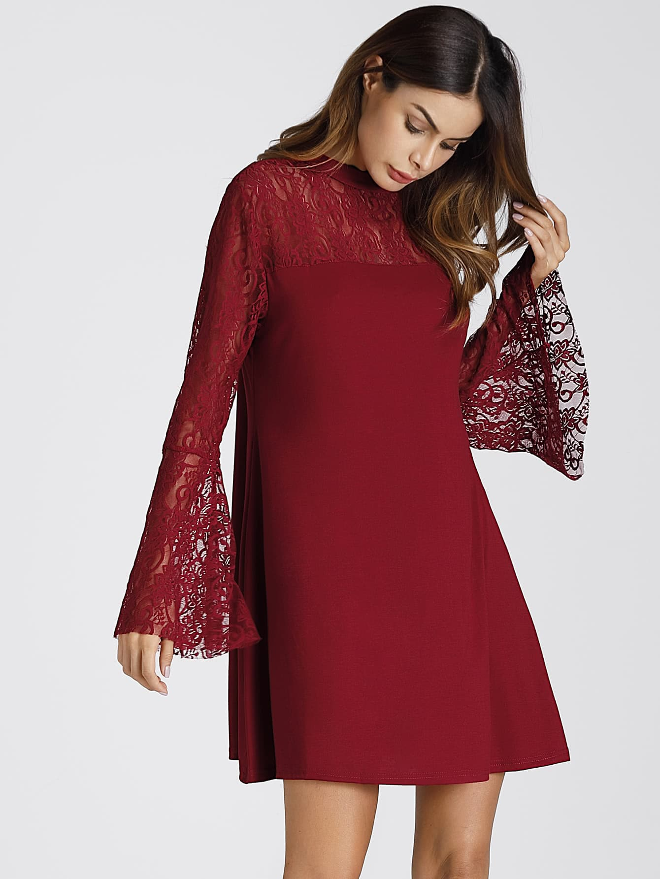 Embroidered Lace Insert Flute Sleeve Dress lace insert fit