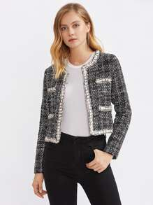 Contrast Trim Chain Detail Tweed Blazer