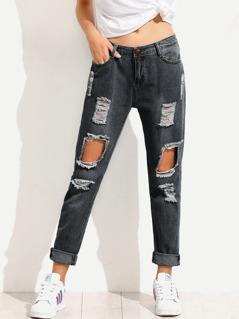 Dark Wash Destroyed Jeans