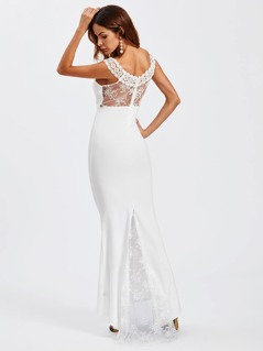 Lace Insert Sheer Back Fishtail Dress