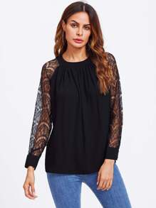 Lace Panel Sleeve Blouse