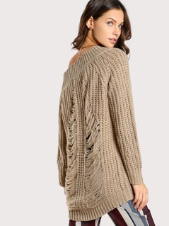 Distressed Knitted Wide Neck Sweater TAUPE