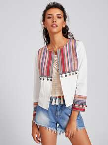 Coin Fringe Trim Striped Yoke And Cuff Jacket