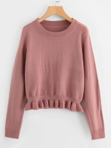 Shirred Frill Hem Sweater
