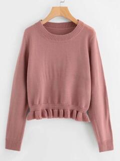 Shirred Frill Hem Sweater