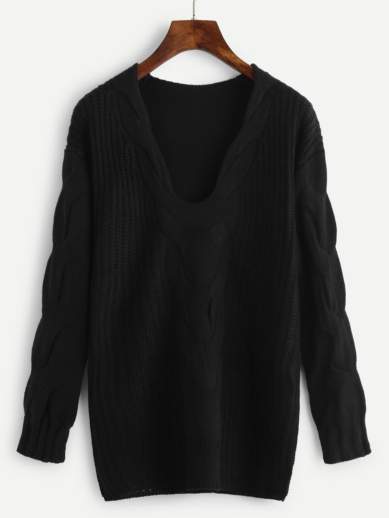 Plunge Drop Shoulder Cable Knit Sweater cable knit a line sweater dress
