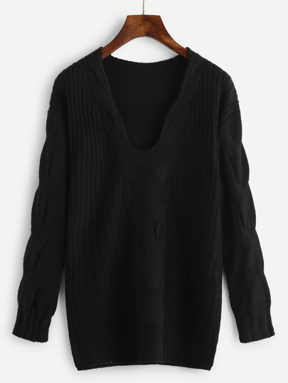 Plunge Drop Shoulder Cable Knit Sweater