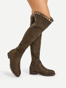 Grommet Detail Knee High Boots