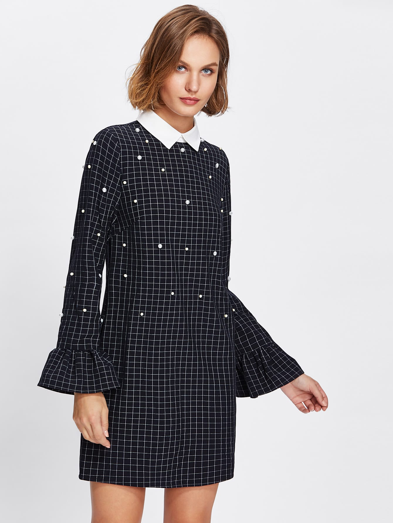 Contrast Collar Ruffle Cuff Pearl Embellished Checked Dress contrast layered ruffle hem pearl embellished dress