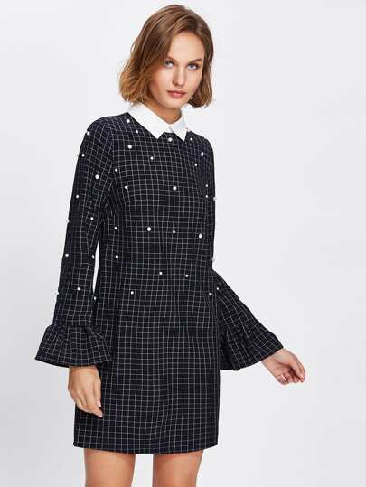 Contrast Collar Ruffle Cuff Pearl Embellished Checked Dress