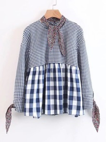 Calico Tie Gingham Babydoll Blouse