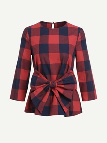 Bow Belted Keyhole Back Gingham Top