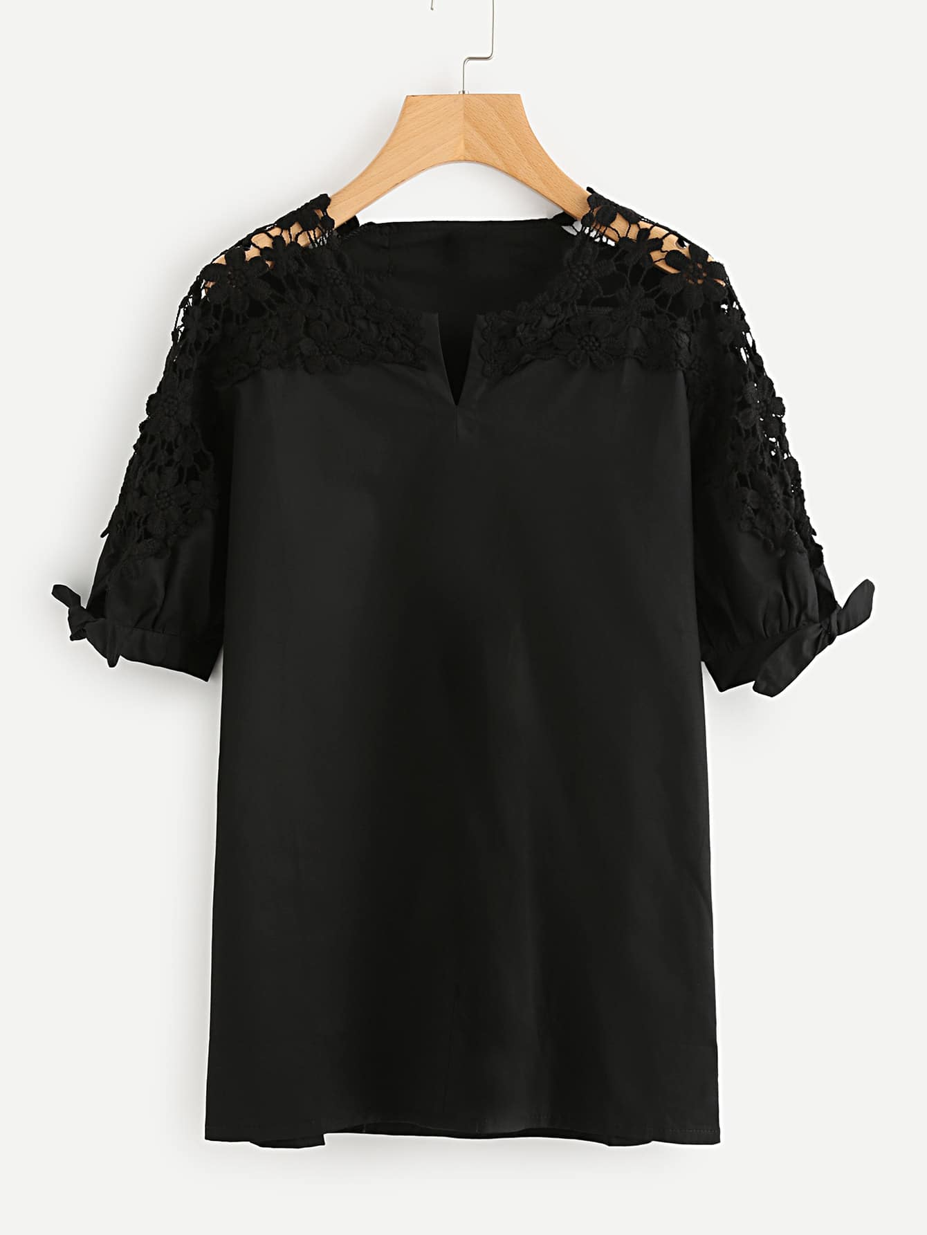 Hollow Out Crochet Panel V Cut Tie Cuff Blouse blouse170908301