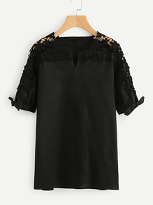 Hollow Out Crochet Panel V Cut Tie Cuff Blouse