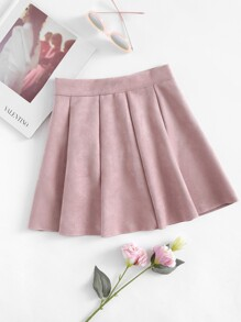 Box Pleated Suede Skirt