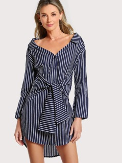 Striped Long Sleeve Button Up Dress NAVY
