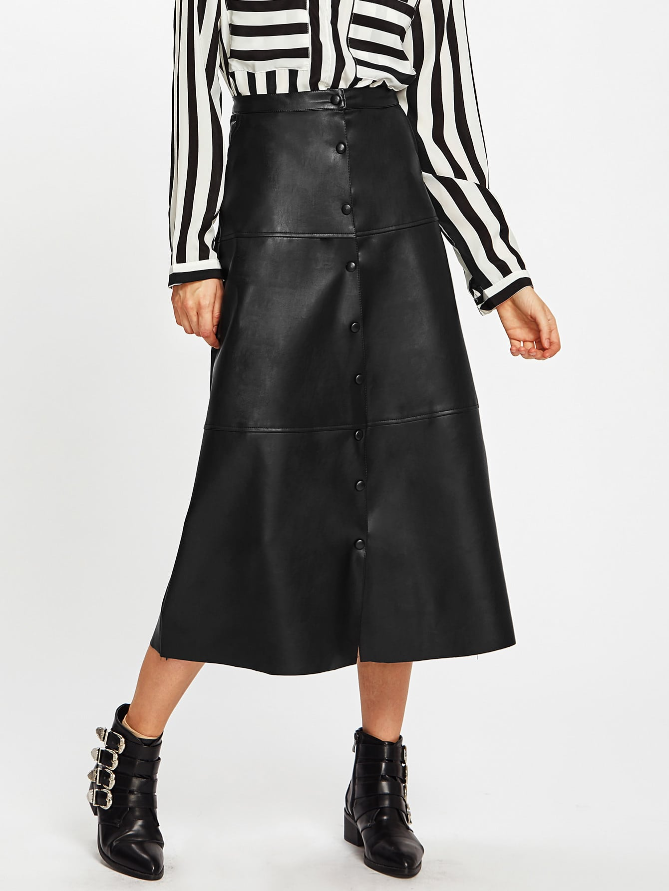 Button Up PU Midi Skirt