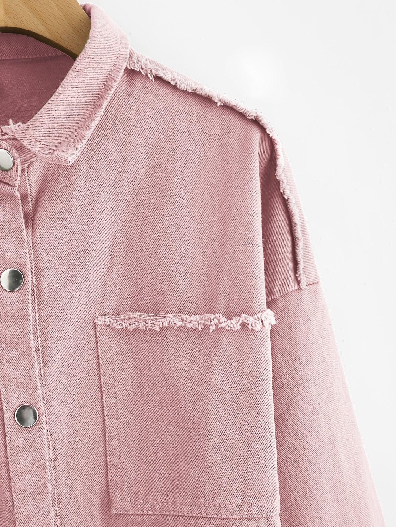 Slogan Embroidered Back Raw Trim Denim Jacket