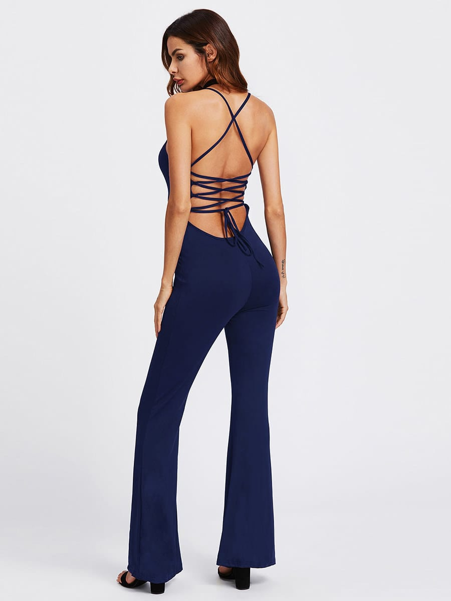 Lace Up Open Back Flare Jumpsuit silver sequins embellished open back lace up top