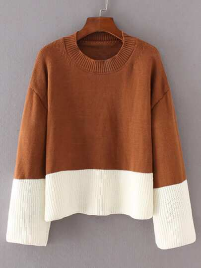 Two Tone Ripped Knit Sweater