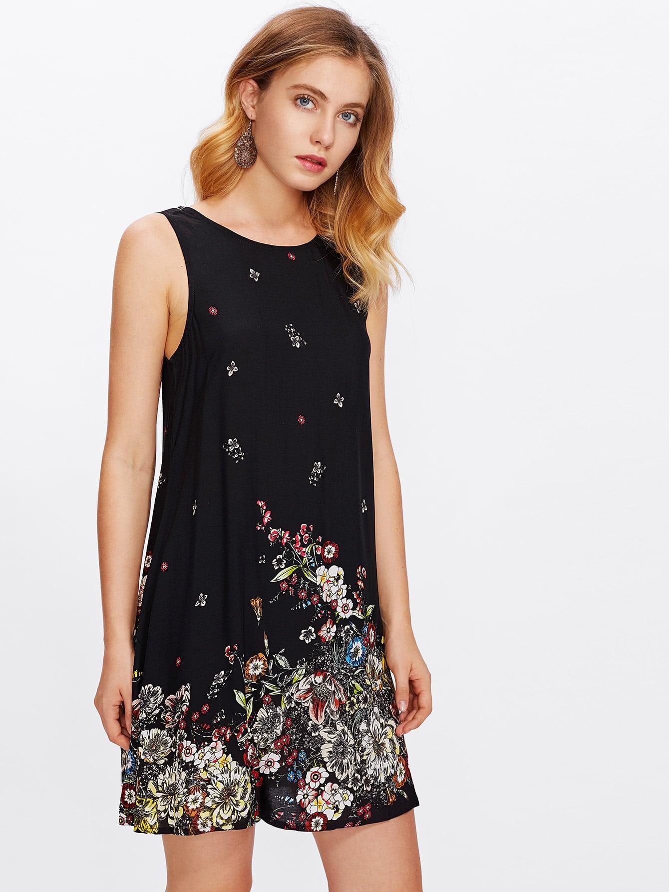 Botanical Print Tank Dress scalloped edge botanical print dress